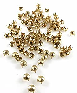 NAILHEADS - SPOTS - STUDS: SIZE 20/107 Round with Six Facets Gold Finish - 100 PCS - 4 Prong - 4.5MM