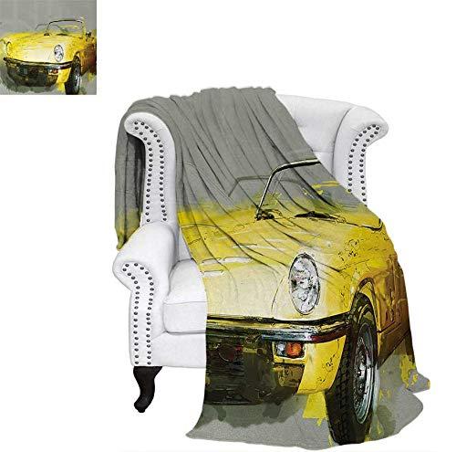 - Weave Pattern Blanket Retro Style Classic 50s 60s Cuban American Watercolor Big Cosy Car Print Picture Custom Design Cozy Flannel Blanket 80