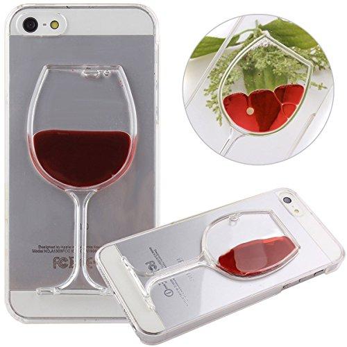 Coque iPhone 5S, Coque iPhone 5, Aprtwin® Fashion Style Coque, Creative 3D flow Liquid Wine Design Etui Housse Téléphone Couverture de Hard Plastique Coque pour iPhone 5/5S (4.0 Pouce)[Rouge]