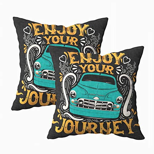 Musesh Watercolor Pillow Cases, Pack of 2 Enjoy Your Journey Typographical Background with Fairy Font and of Retro Car Artwork in for Sofa Home Decorative Pillowcase 18X18Inch Pillow Covers