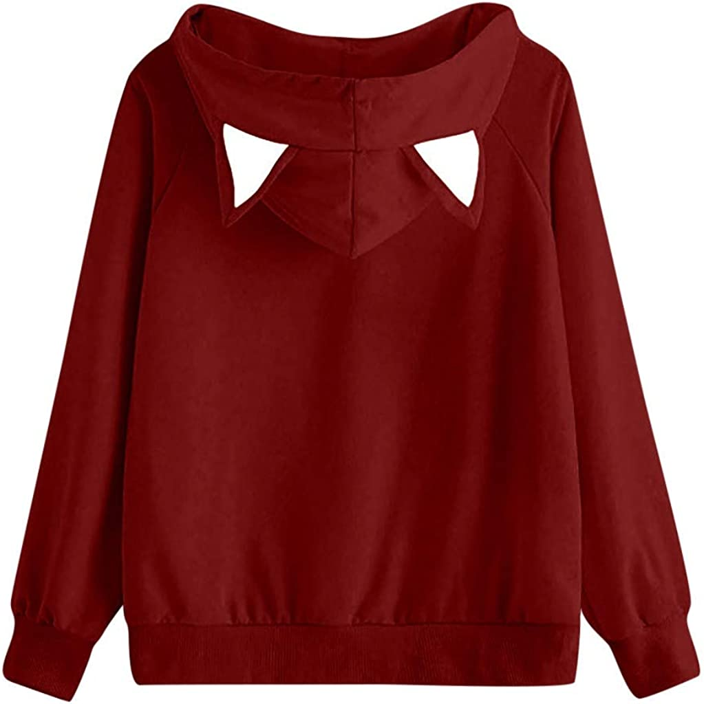 Auifor Langarm-Kapuzenshirt f/ür Frauen Pullover Mit Kapuze Pullover Tops Warm Hoodie Outerwear Drucken Muster Sweatshirt Casual Sweatjacke Mit Tasche