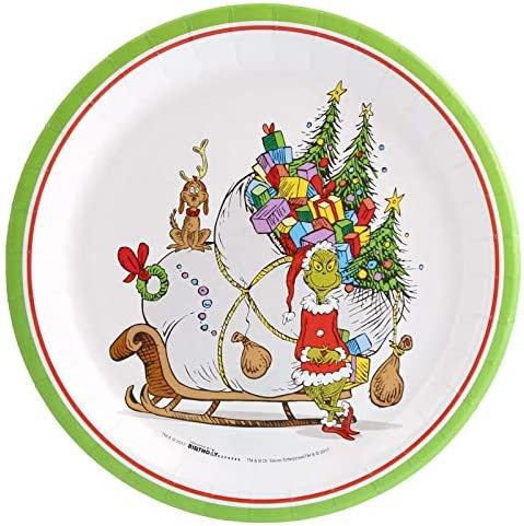 Dr. Seuss The Grinch Christmas Holiday Party Dinner Plate (8)