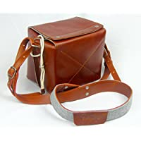 Portage Supply Co Leather and Wool Felt Box Bag with Shoulder Strap for DSLR Camera
