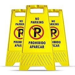 MYSBIKER No Parking Sign, 3 Pack Yellow ...