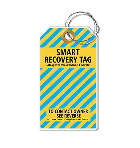 (Dynotag Web Enabled Smart ID Tag, PROTAGZ Series MEGA Size Luggage Tag w. Double Steel Loops with DynoIQ & Lifetime Recovery Service (SunShade))