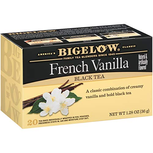 - Bigelow French Vanilla Tea 20 Bags (Pack of 6), 120 Tea Bags Total.  Caffeinated Individual Black Tea Bags, for Hot Tea or Iced Tea, Drink Plain or Sweetened with Honey or Sugar