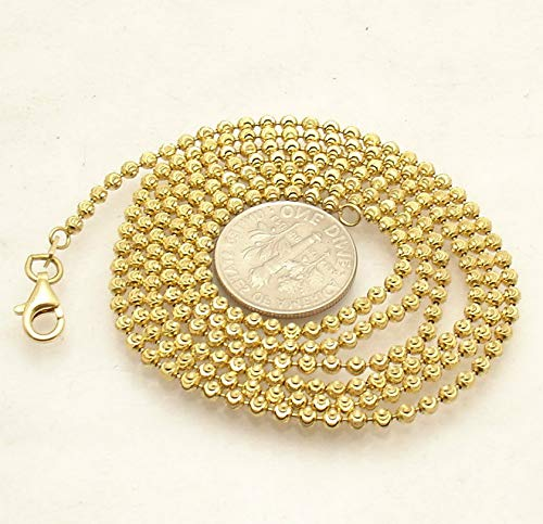 Hemau 2mm Moon Cut Ball Bead Chain Necklace Solid 14K Yellow Gold Clad 925 Silver   Model NCKLCS - 1871   ()