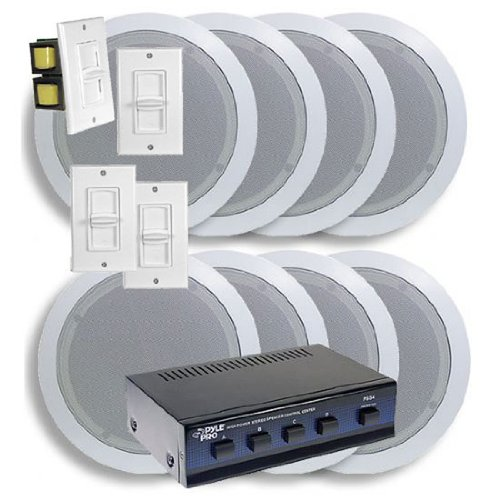 Ceiling Home Speaker System w/4 Volume Controls Knob (Slide Volume Control Knob)