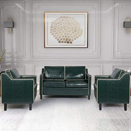 Modern Sectional Sofa Set Faux Leather Mid Century Upholstered 3 Pcs Couch Set with Armrest Loveseats Couches for Living Room Office 1-Seater 1-Seater 2-Seater, Green