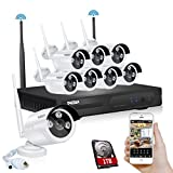 TMEZON Better Than 720P 8CH 960P HD WI-FI NVR Security Wireless Network System With 1.3MP Night Vision IP Surveillance Camera Kit CCTV Security System Smartphone Quick View 1TB HDD