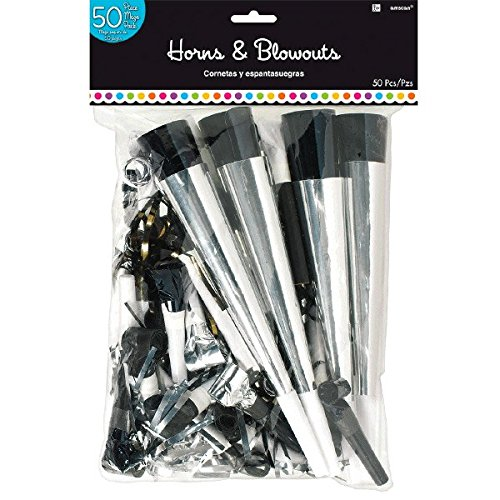 Amscan 330038 Black & White MVP Horns Party Blowouts, 15'' x 9 3/8'' by amscan