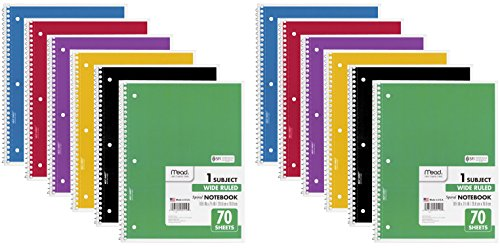 Mead Spiral Notebook, 1 Subject, 70 Wide Ruled Sheets, Assorted Colors, 12 -