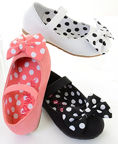 Girls Polka Dot Bows Single Strap Mary Jane Flats Kids - Pink, 7 (Strap Jane Mary Single)