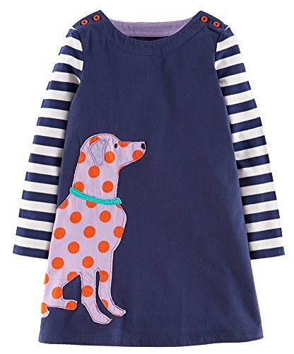 - Fiream Girls Cotton Casual Longsleeve Stripe Applique Dresses(Blue,9-10YRS)