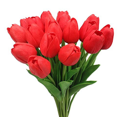 Duovlo 18 heads Artificial Mini Tulips Real Touch Wedding Flowers Arrangement Bouquet Home Room Centerpiece Decor (Red)