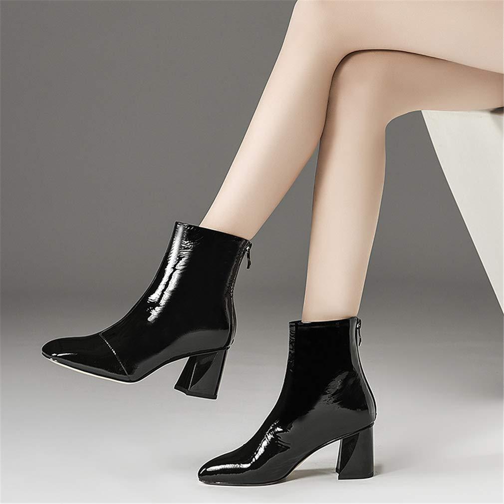 YAN Frauen-Knöchelstiefel Mode Gemischt Farbe Farbe Farbe Stiefel Lady Es Formale Kleider Schuhe Leder Reißverschluss-Stiefelies Kopf Raue High Heels B 36 5f53ab