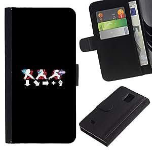 Paccase / Billetera de Cuero Caso del tirón Titular de la tarjeta Carcasa Funda para - Langauge Symbols Black White Red - Samsung Galaxy Note 4 SM-N910