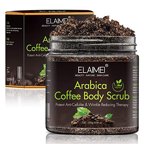 Arabica Coffee Scrub,100% Natural with Dead Sea Salt, Treat Uneven Skin tones, Acne & Eczema Treatment, Exfoliate Moisturize, Stretch Mark Scar & Cellulite Remover For Men And Women