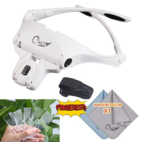 COSTIN Head Mount Magnifier with 2 LED Professional Jeweler's Loupe Light Bracket and Headband are Interchangeable 5 Replaceable Lenses: 1.0X, 1.5X, 2.0X, 2.5X, - Clearly Contacts Sale Glasses