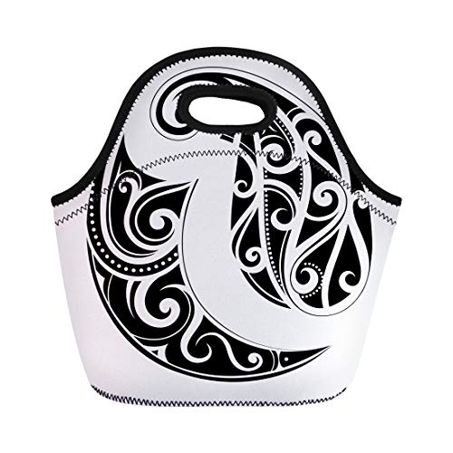 Semtomn Neoprene Lunch Tote Bag Abstract Maori Ethnic Tattoo Black Curl Curves Hawaii Polynesian Reusable Cooler Bags Insulated Thermal Picnic Handbag for Travel,School,Outdoors,Work