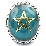 Daesar Stainless Steel Rings Mens Pentagram Rings Star of David Silver Wedding Bands Men CZ Rings