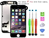 Screen Replacement Compatible with iPhone 8 Plus Full Assembly - LCD 3D Touch Display Digitizer with Sensors and Front Camera, Fit Compatible with iPhone 8 Plus-Black