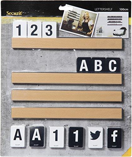 Securit – Carta Estante incluye letras y números, teca, 1 m
