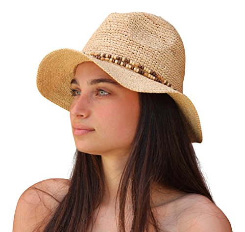 Palms & Sand Belize Women's Beaded Raffia Sun Hat (Natural) (Beaded Raffia)