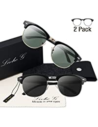2 Pack of Polarized Sunglasses Women Men Semi Rimless Frame Retro Sunglasses
