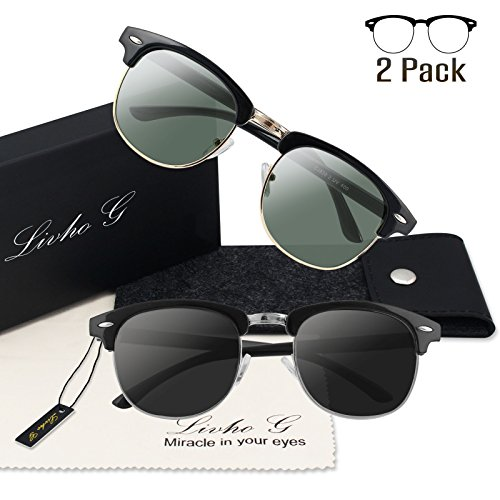 Livhò G 2 Pack of Polarized Sunglasses Women Men Semi Rimless Frame Retro Classic Sun Glasses (Black Green+ Black - Glass Sun Band