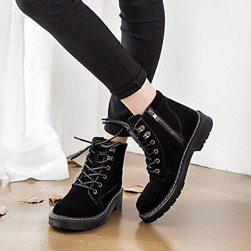 Women Short Martin Boots Leather Flat Heel Thicker Warm Zipper Shoelace Retro Casual Shoes BLACK-40 clIGqcjk