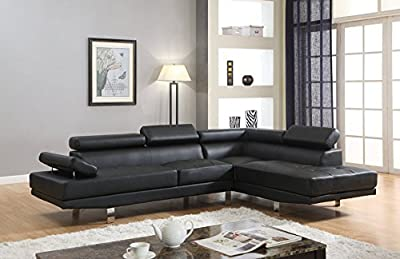 GTU Furniture 2Pc Contemporary Faux Leather Sectional Armrest Sofa Set, in Black/ White