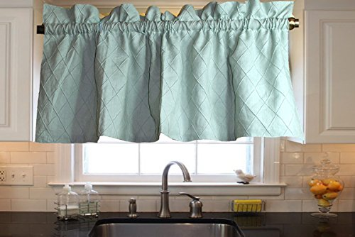 Ds Spa Toned Organic Linen Diamond Pintucked Lined Kitchen Window Valance 48