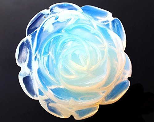 Ecloud Shop 30mm Beautiful Flower Rose Carved Opal Opalite Gemstone Charm Pendant