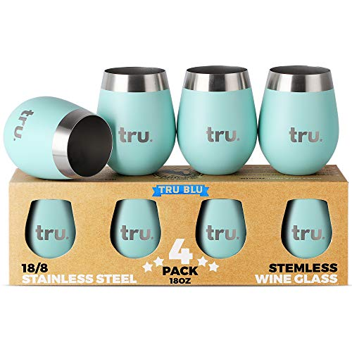 Outdoor Wine Glasses (Set of 4) - Stainless Steel Wine Tumblers 18oz – Stemless Metal Cup for Camping - Travel, Lightweight, Unbreakable, Shatterproof, Portable, BPA Free by Tru Blu Steel