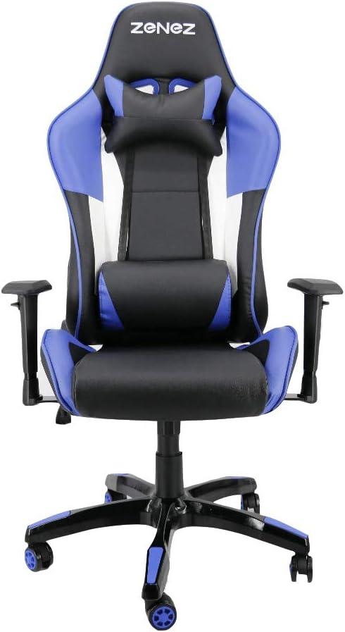 ZENEZ Silla Gamer, Silla Gaming de Ergonómica, Silla con Reposacabeza Apoyo y Cojín Lumbar, Cuero Sintético PU, para Los Jugadores de PC Gamer Azul