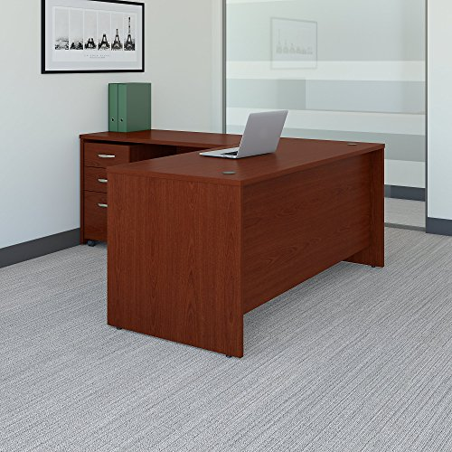 Bush Business Furniture Series C 66W L Shaped Desk with 48W Return and Mobile File Cabinet in Mahogany