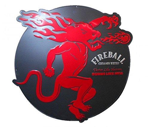 Fireball Whiskey Pub Sign - Style 2 Round (Fireball Glass)