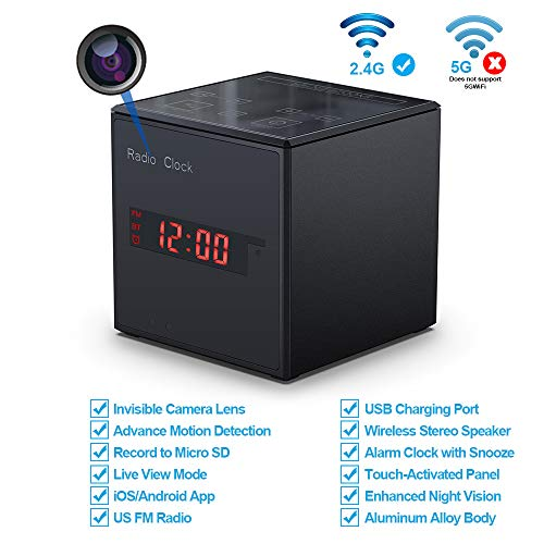 Hidden Camera WiFi Alarm Clock Radio,FUVISION Wireless Speaker Spy Camera with Motion Detect,FM Radio,Night Vision,USB Charging Port,Touch-Activated Control,Aluminum Alloy Body Nanny Camera for Home