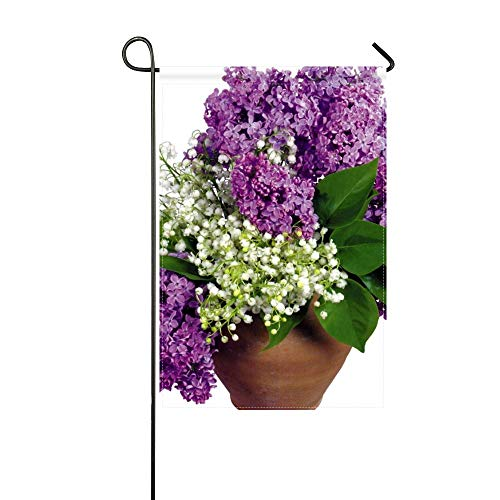 (DongGan Garden Flag Lilys of The Valley Lilac Leaves Vase Flower Spring 12x18 Inches(Without Flagpole))