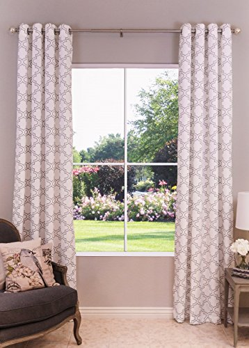 White & Gray Moroccan Lattice Patterned Single Window Curtain Panel, Width 52″ x Length 108″