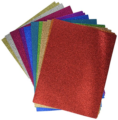 - Darice Glitter Cardstock Paper Pack, Heavyweight 40 sheets Pack, 10 assorted colors
