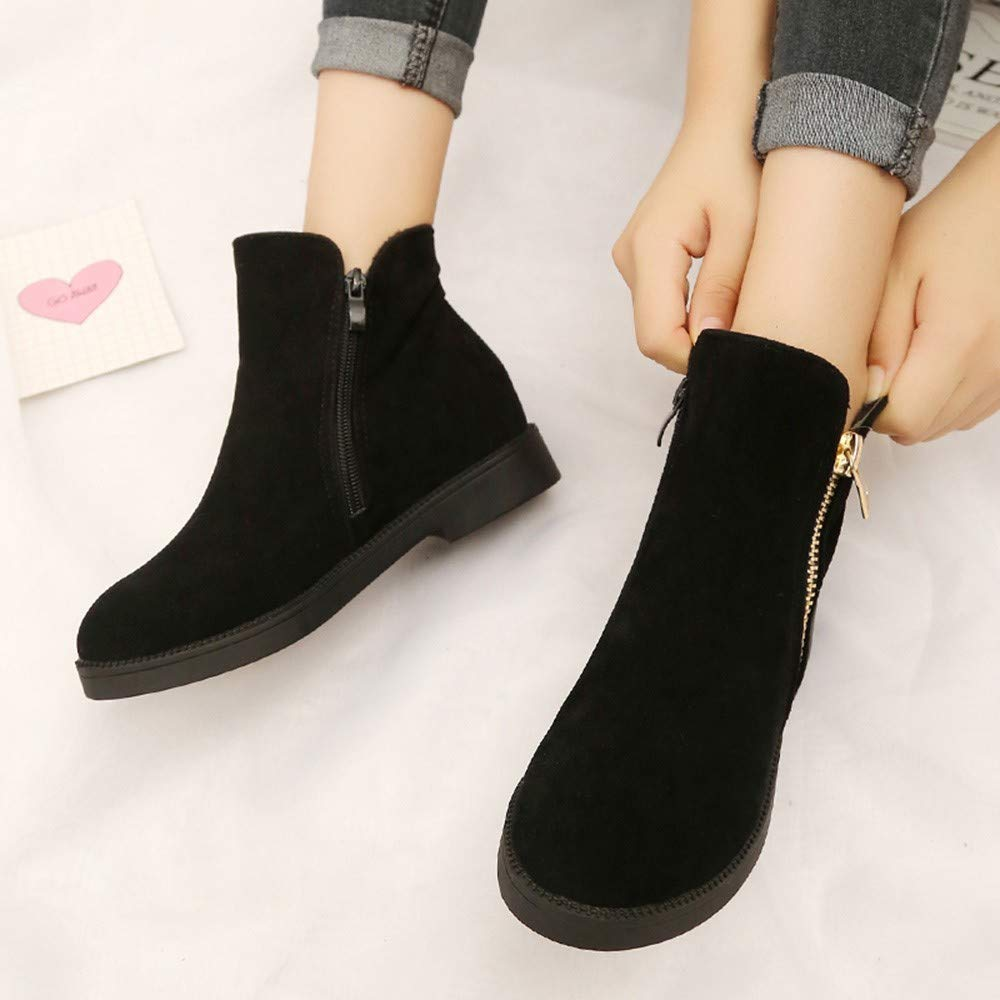 Botas Cortas para Mujer,ZARLLE Moda Mujeres Tobillo Corto Botines Cuero Caballero Damas Botas Zapatos Bota,Botas Cortas Caballero Botas Botas Zapatos Botas: ...