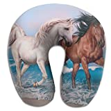 U-Shaped Pillow Neck Shoulder Body Care Horses Art Animal Health Soft U-Pillow For Home Travel Flight Unisex Supportive Sleeping