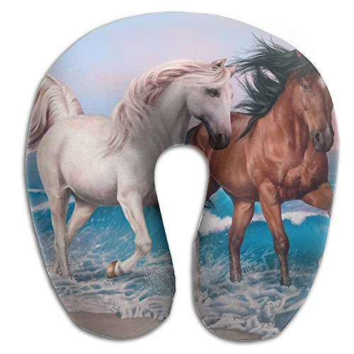 U-Shaped Pillow Neck Shoulder Body Care Horses Art Animal Health Soft U-Pillow For Home Travel Flight Unisex Supportive Sleeping by Godfery