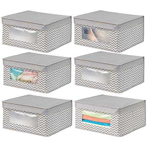 mDesign Soft Stackable Fabric Closet Storage Organizer Holder Bin with Clear Window, Attached Hinged Lid - for Bedroom, Hallway, Entryway, Bathroom - Chevron Print - Medium, 6 Pack - Taupe/Natural
