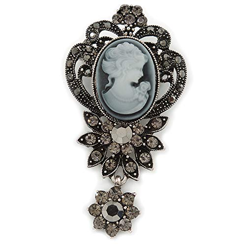 Avalaya Vintage Inspired Dark Grey/Hematite Crystal Cameo with Charm Brooch in Antique Silver Tone - 65mm L ()