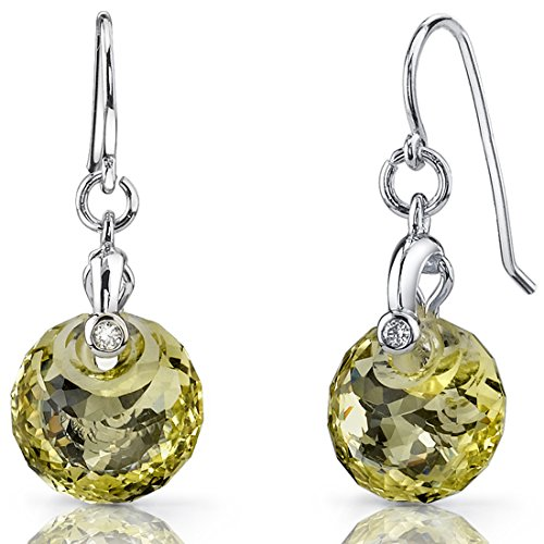 Spherical Cut 7.50 carats Lemon Quartz Fishhook Earrings Sterling Silver Rhodium Nickel (Lemon Quartz Earrings)