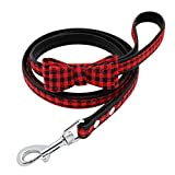 LOVELY Dog Leashes Plaid Leather Padded Puppy Dog Walking Leash Pet Cat Lead Rope Red Free Size