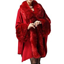Win8Fong Women's Long Knitted Fur Bolero Shawl Stole Cloak Cape Coat